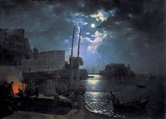 Лунная ночь в Неаполе 1828. Сильвестр Феодосиевич Щедрин