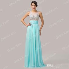 Wholesale Chiffon Prom Dresses - Buy Grace Karin Hot Sale Long Chiffon Prom Dresses Sleeveless Sheer Crew Neck Beaded Evening Gown Formal Graduation Dress CL6110, $50.19 | DHgate.com