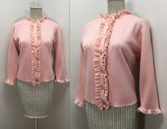 Pink Wool Sweater // Vintage Huddlespun Blouse by WEVco Wool Sweaters, Unique Vintage, 1960s, Women's Clothing, Mid Century, Clothes For Women, Trending Outfits, Blouse, Pink