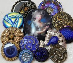 Vintage Fancy Glass and rhinestone buttons.