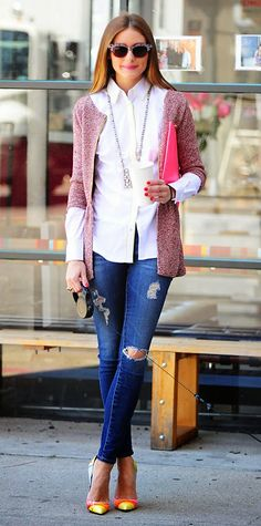 Pink Sweater, Fabric Pumps, Long Necklace, Crisp White Shirt, Olivia Palermo