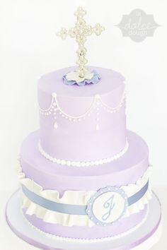 Lavender Ruffle 1St Communion Cake