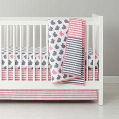 Shop Baby Bedding: Grey Pink Bunny Crib Bedding.  Looking for a modern crib bedding set with a lot of charm? Then you'll definitely want to jump on this set (not literally, of course).