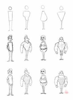 Character Shape Sketching 2 (with video link) by LuigiL on DeviantArt Cartoon Drawings Of People, Cartoon People, Cartoon Sketches, Disney Drawings, Drawing People, Cool Drawings, Hair Drawings, Beautiful Drawings, Character Design Sketches