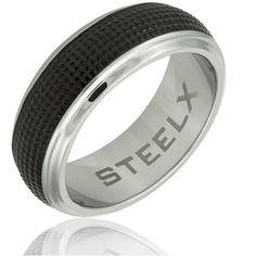 $14.99 - Steelx Polished Stainless Steel Black Carbon Fiber Center Mens Ring
