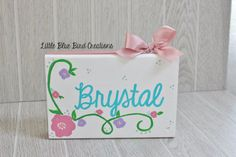 Hand Painted Name Wood Sign  Name Sign  by littlebluebirdcreate #handpainted #wood sign #etsy