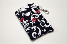 Fabric iPhone 6 Plus Sleeve, iPhone 5 5s 5c Sleeve, Cell Phone Sleeve, Samsung Galaxy S5 S4 S2, Note 4 3 2, Smartphone, LG G3-Reverse red by kreatedbykim on Etsy
