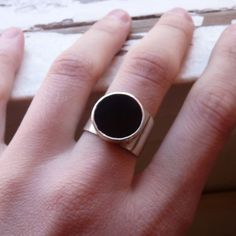 Onyx. Geometric Ring, Sterling silver,  Made to order in your size, Stone ring