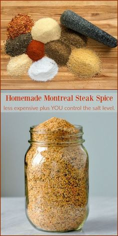 Homemade Montreal Steak Spice - you control the salt level! - - Homemade Montreal Steak Spice - less expensive plus you control the salt level. A recipe for one of the most popular seasoning blends in Canada that you can easily make at home. Homemade Dry Mixes, Homemade Spice Blends, Homemade Spices, Homemade Seasonings, Spice Mixes, Homemade Italian Seasoning, Steak Spice, Do It Yourself Food, Dry Rub Recipes