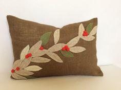 Christmas Lumbar Pillow Cover Burlap Pillow Burlap Holiday