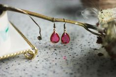delicate drop earrings pink crystal earrings by AFRAcollection