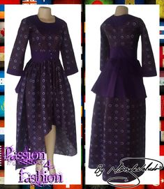 Purple modern traditional hi lo dress with a round neckline, 3/4 sleeves and a peplum back effect.