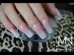 HOW TO BABY BOOMER NUDE OMBRE ACRYLIC NAILS shows you how to do ombre style mix of milky white with nude pink colored acrylic powder. Start off base with cre...