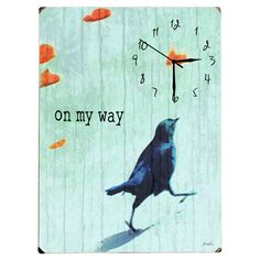 Add a pop of color to your kitchen or entryway with this weathered wood wall clock, showcasing a bird motif and typographic accent.  Prod...