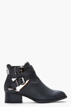 Black Everly Cut_out Buckle Boots by Jeffrey Campbell | Apprl - Social Shopping