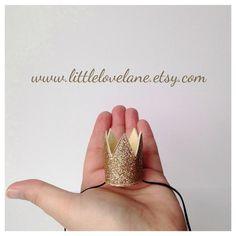 Wool Felt Tiny Mini Birthday Crown Gold Glitter by LittleLoveLane