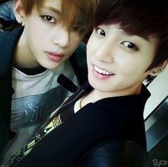 V and Jungkook love them both, but just look at V in this pic. Wow...)