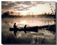 Impact Posters Gallery Framed Wall Decoration Fisherman and Dog in Fishing Boat at Sunset River Nature Scenery Espresso Framed Picture Art Print Deep Sea Fishing, Best Fishing, Fishing Tips, Fly Fishing, Fishing Photography, Art Photography, Fishing Pictures, Cat Posters, Poster Prints