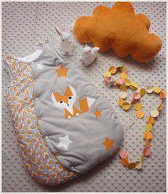 Gigoteuse bébé 0-6 mois renard orange et gris : Mode Bébé par les-petits-gosses-miniatures
