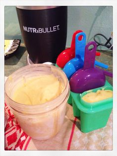 Nutribullet ice cream! Mango, banana, dash cinnamon & raw honey then freeze in icy pole containers yummo! #nutribullet #nutribulleticecream #icecream