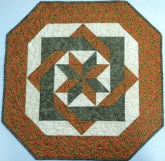 Olive Green Burnt Orange Quilted Table Topper by HollysHutch