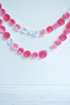 Garland Pink Paper Flower Garland- shower, birthday party, nursery garland-Baby Girl. $21.00, via Etsy.