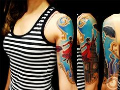 Like the broken frame and colors. Beautifully done Mary Poppins tattoo!