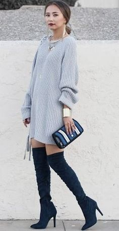 Trend Alert: Over Knee Boots Public Desire x Knit Dress x Jumpfrompaper x Statement Jewelry | Different Colors & Different Styles #trend
