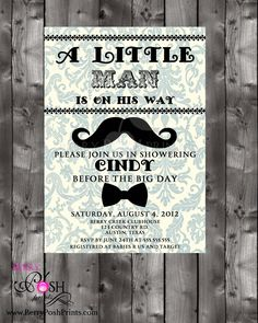 Mustache Baby Shower Invitation by BerryPoshPrints on Etsy!!! THESE!