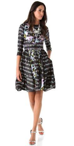 """Shopbop...Cynthia Rowley...Zigzag Floral Dress...Silk...36"""" Long"""