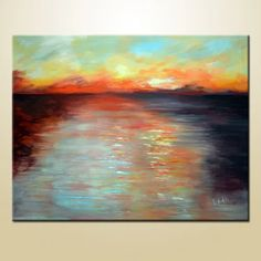 sunset seascape canvas Seascape Paintings, Acrylic Material, Abstract Canvas, Original Art, Sunset, The Originals, Architecture, Gallery, Artist