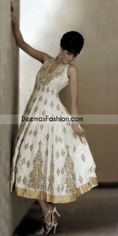 Asian Fashion White Jamawar Anarkali Designer Dress