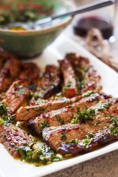 Spicy Grilled Steak with Parsley Sauce