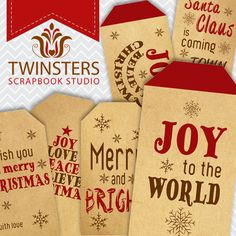 Printable old paper Christmas tags  red  png  TW115  by Twinsters