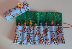 Monkey Crayon Roll  Holds 816 Crayons by EmmisOwls on Etsy, $5.00