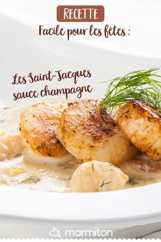 Saint-Jacques sauce champagne For the Christmas meal, we prepare this easy recipe of scallops in cha New Recipes, Crockpot Recipes, Snack Recipes, Healthy Foods To Eat, Healthy Snacks, Healthy Recipes, Italian Dinner Recipes, Vegan, Easy Meals