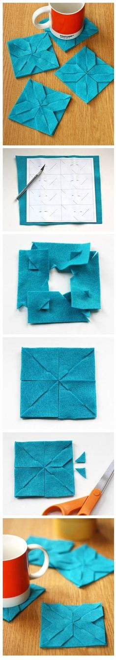 Easy DIY coaster!!! :) Adorable idea to do with just some extra felt lying around in your house. <3
