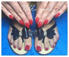 Nikka nails, hand and feet nails, red nails, wampire kiss color