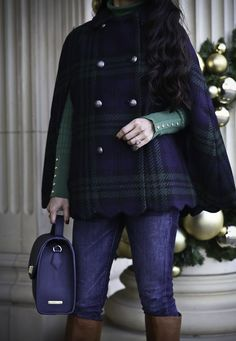 plaid scallop hem cape poncho winter outfit idea holiday style