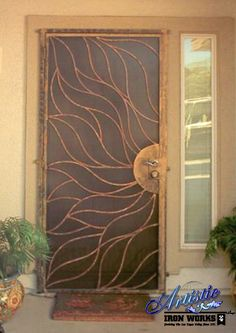 Custom Sun Wrought Iron Security Door By Artistic Works Las Vegas Nv