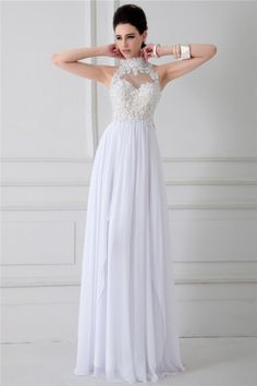 Princess High Neck See Through Backless Long White Chiffon Lace Beaded Prom Dress