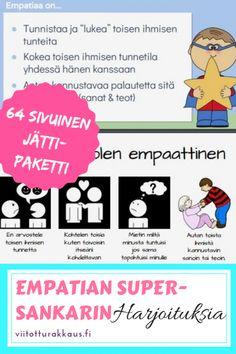 Empatian supersankari - Viitottu Rakkaus Emoji, Pre School, Teaching, Education, Comics, Kids, Toddlers, Young Children, Young Children