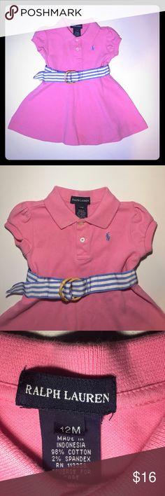 Ralph Lauren Pink Dress 12 Months Adorable Ralph Lauren Pink Dress with Striped belt size 12 Months, excellent condition! From a pet/ smoke free home Ralph Lauren Dresses