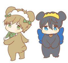 Little bears ...  From uto00rog ... Free! - Iwatobi Swim Club, haruka nanase, haru nanase, haru, nanase, haruka, free!, iwatobi,  makoto tachibana, makoto, tachibana, bear