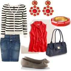 Casual Spring Look with denim and red