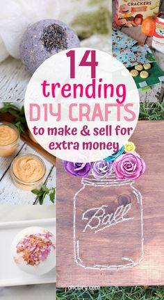 Easy Crafts That Make Money - 14 Simple Crafts To Make And Sell For Extra Money, DIY and Crafts, Easy DIY Crafts To Sell That Are Cheap To Make & Creative. These awesome project ideas can be sold on Etsy and at craft fairs and craft markets. Diy Craft Projects, Diy And Crafts Sewing, Decor Crafts, Etsy Crafts, Pot Mason Diy, Mason Jar Crafts, Mason Jars, Diy Niños Manualidades, Easy Crafts To Make