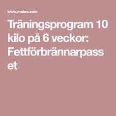 Träningsprogram 10 kilo på 6 veckor: Fettförbrännarpasset Health Fitness, Workout, Tips, Training, Yoga, Hair, Beauty, Coaching, Whoville Hair