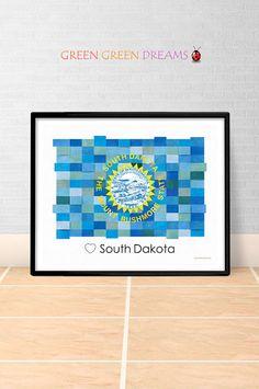 South Dakota Flag Print Poster Wall art South Dakota US State flags SD printable download Home Decor Digital Print gift GreenGreenDreams