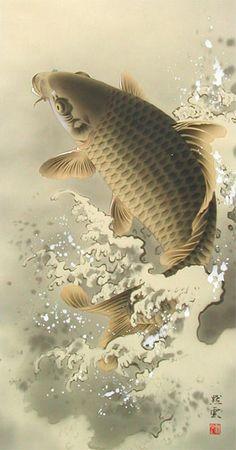 Japanese Art Styles, Japanese Artwork, Japanese Tattoo Art, Japanese Prints, Carp Tattoo, Koi Fish Tattoo, Koi Art, Fish Art, Samurai Art