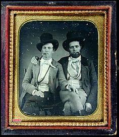 ca. 1850's, [daguerreotype portrait of two dandies smoking cigars]